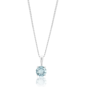 9ct White Gold Aquamarine Pendant