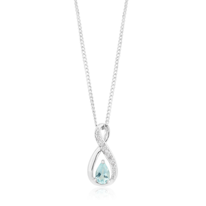 9ct White Gold Aquamarine & Diamond Infinity Pendant