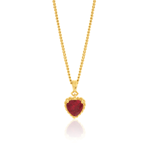 9ct Yellow Gold Created Ruby Heart Pendant
