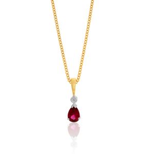 9ct Yellow Gold Created Ruby & Diamond Pendant