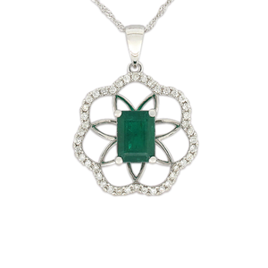 18ct White Gold Natural Emerald and Diamond Pendant on 45cm chain
