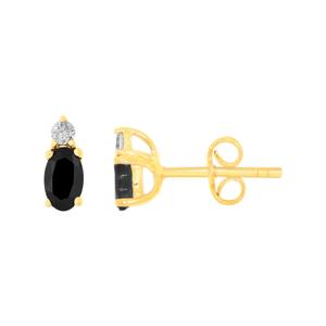 9ct Yellow Gold Natural Sapphire & Diamond Studs