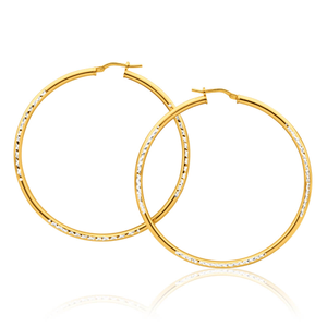 9ct Yellow Gold Silver Filled Simple Two Tone 50mm Hoop Earrings