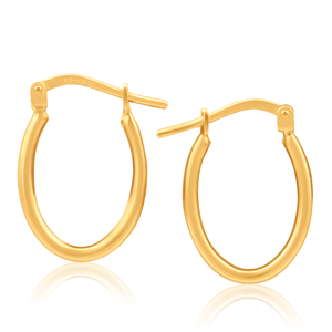 9ct Yellow Gold Silver Filled Elegance 10mm Hoop Earrings
