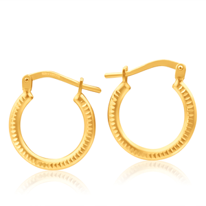 9ct Yellow Gold Silver Filled Zag 10mm Hoop Earrings