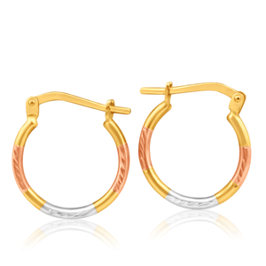 9ct Yellow Gold Silver Filled Fancy Three Tone 12mm Hoop Earrings