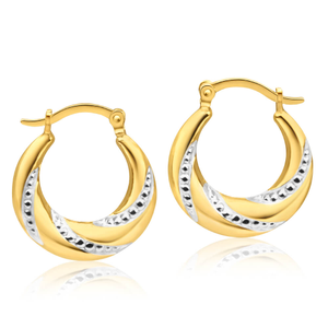 9ct Yellow Gold Silver Filled Lovely Two Tone 16mm Hoop Earrings