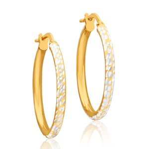 9ct Yellow Gold Silver Filled 20mm Hoop Earrings