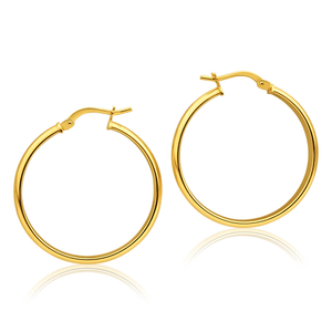 9ct Yellow Gold Silver Filled Half Round 25mm Hoop Earrings