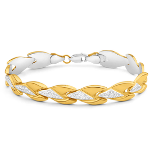 9ct Yellow Gold Silver Filled Lovely Fancy 19cm Bracelet