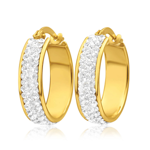 9ct Yellow Gold Silver Filled Crystal Round Hoop Earrings in 15mm
