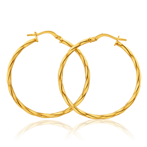 9ct Yellow Gold Silver Filled Twist 30mm Hoop Earrings