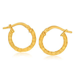 9ct Yellow Gold Silver Filled Fancy Hoop Earrings