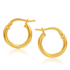 9ct Yellow Gold Silver Filled Twist Hoop Earrings