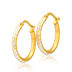 9ct Yellow Gold Silver Filled 15mm Hoop Earrings