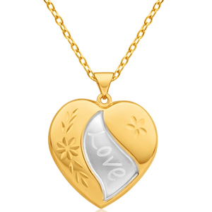 9ct Yellow Gold Silver Filled Heart Pendant