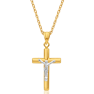 9ct Yellow Gold Silver Filled Crucific 22cm Pendant