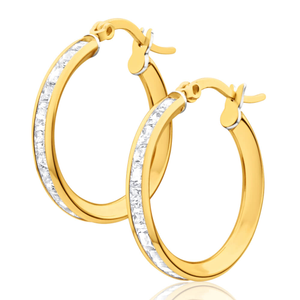 9ct Yellow Gold Silver Filled Cubic Zirconia 17mm Channel Hoop Earrings