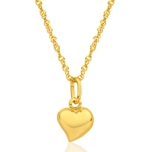 9ct Yellow Gold Silver Filled Heart Pendant With 45cm Chain