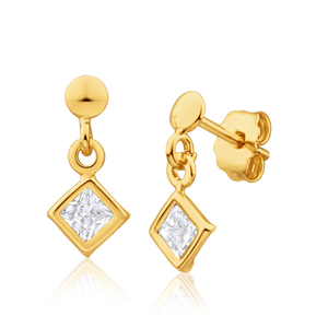 9ct Yellow Gold Silver Filled Cubic Zirconia Square Drop Earrings