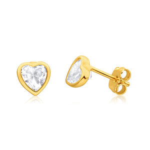 9ct Yellow Gold Silver Filled Cubic Zirconia Heart 5mm Stud Earrings