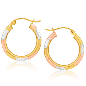 9ct Yellow Gold Silver Filled Three Tone Hoop Earrings