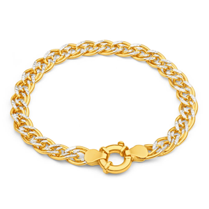 9ct Yellow Gold Silver Filled Two Tone Double 19cm Curb Bracelet