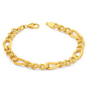 9ct Yellow Gold Silver Filled Figaro Fancy 19cm Bracelet