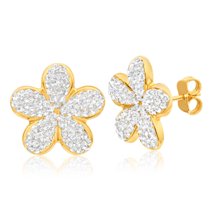 9ct Yellow Gold Silver Filled Crystal Fancy Flower Stud Earrings