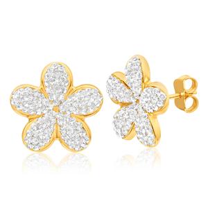 9ct Yellow Gold Silver Filled Crystal Fancy Flower Stud Earrings