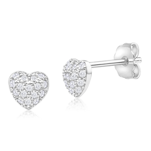 9ct Yellow Gold Silver Filled Cubic Zirconia Love Heart Stud Earrings
