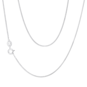 9ct White Gold Silver Filled Dazzling Curb Chain