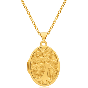 9ct Yellow Gold Silver FilledTree of Life Oval Pendant