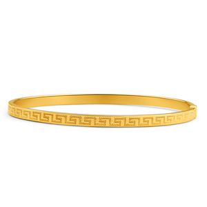9ct Yellow Gold Silver Filled Greek Key Bangle