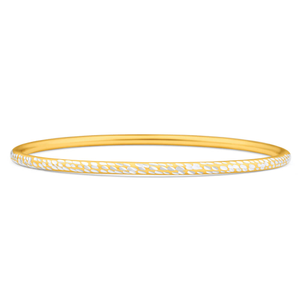 9ct Yellow Gold Silver Filled 3mm By 65mm Bangle