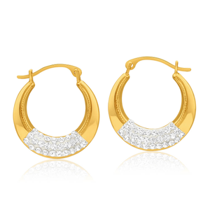 9ct Yellow Gold Silver Filled Crystal Creole Hoop Earrings