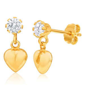 9ct Yellow Gold Silver Filled Cubic Zirconia Heart Drop Earrings