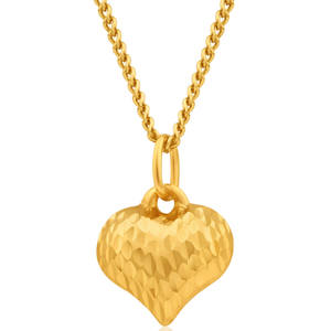 9ct Yellow Gold Silver Filled Love Heart Pendant