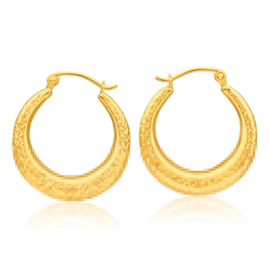 9ct Yellow Gold Silver Filled 20mm Patterned Hoop Earrings