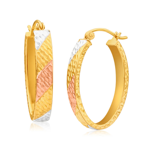 9ct Yellow Gold Silver Filled Three Tone Oval Hoop Earrings