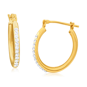 9ct Yellow Gold Silver Filled Crystal Hoop 18mm Earrings