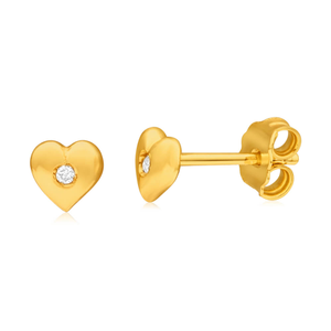 9ct Yellow Gold Silver Filled Diamond Set Heart Stud Earrings