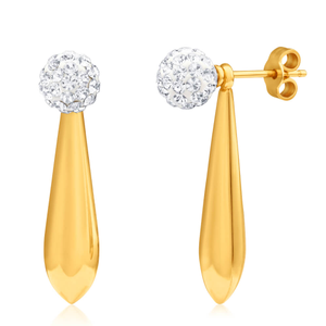 9ct Yellow Gold Silver Filled Crystal Tear Drop Earrings