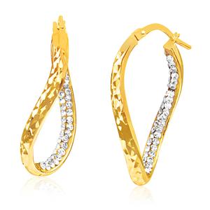 9ct Yellow Gold Silver Filled Crystal Twisted Hoop Hoop Earrings