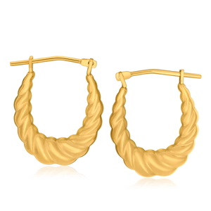 9ct Yellow Gold Silver Filled Twist Darling Hoop Earrings