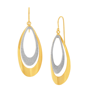 9ct Yellow Gold Silver Filled Stardust Teardrop Drop Earrings