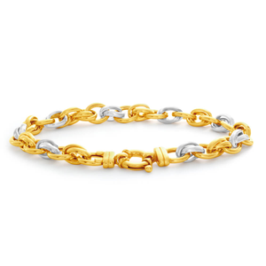 9ct Yellow Gold Silver Filled Oval 20cm Fancy Bracelet
