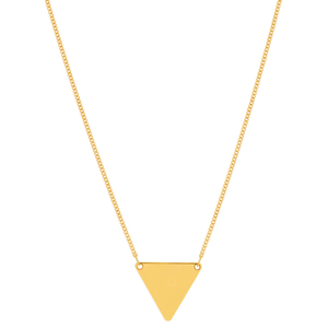 9ct Yellow Gold Silver Filled Triangle Pendant With 45cm Chain