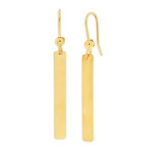 9ct Yellow Gold Silver Filled Bar 45mm Drop Earrings