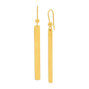 9ct Yellow Gold Silver Filled Bar 53mm Drop Earrings